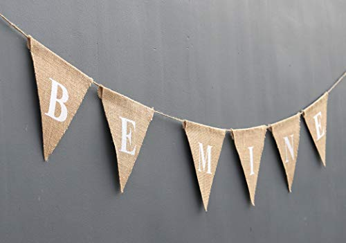 BE MINE Valentine Banner-Gift For Her- Rustic Valentine Day Burlap- Holiday Décor-Wedding Engagement-Heart-Love Pennant Decor-Gift For Him-Chic Be Mine Bunting ()