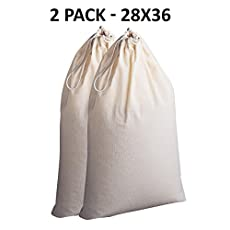 Cotton Craft - 2 Pack Extra Large 100% Cotton Canvas Heavy Duty Laundry Bags - Natural Cotton - 28x36 Inch