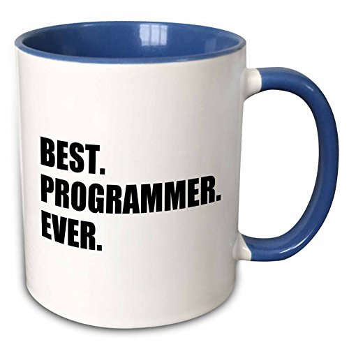 3dRose InspirationzStore Typography - Best Programmer Ever, fun gift for talented computer programming, text - 11oz Two-Tone Blue Mug (mug_185015_6)