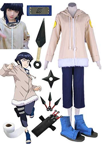 Naruto Hyuuga Hinata Halloween Cosplay Costume 12 Years Old Version Full Suit (Female XS) Beige -