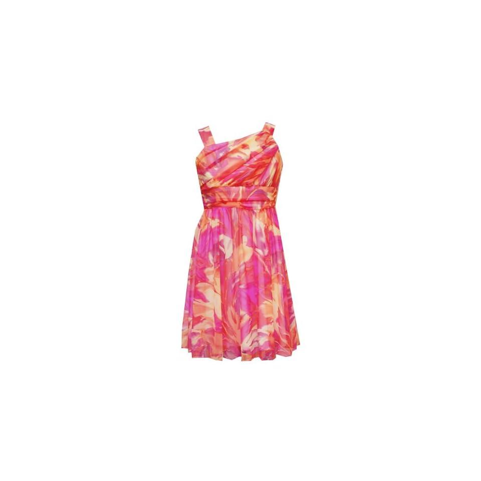Rare Editions Girls 7 16 Ruched Bodice Floral Print Dress, Orange/Multi, 7