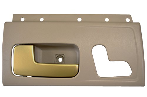 PT Auto Warehouse FO-2385ME-FL - Inside Interior Inner Door Handle, Beige Housing with Chrome Lever (Golden Brush) - Driver Side Front - Town Car Door Handle
