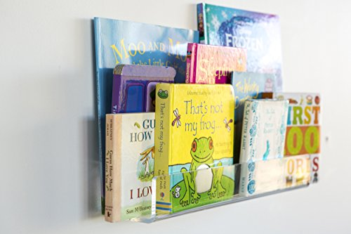 Invisible Floating Bookshelf For Kids 16/26/38 Inch TWICE AS THICK & UNBREAKABLE WALL MOUNTED FLOATING LEDGE SHELF; 1/4 inch thick. Magically displaying books. Gift boxed. Hardware incl (16 inch)