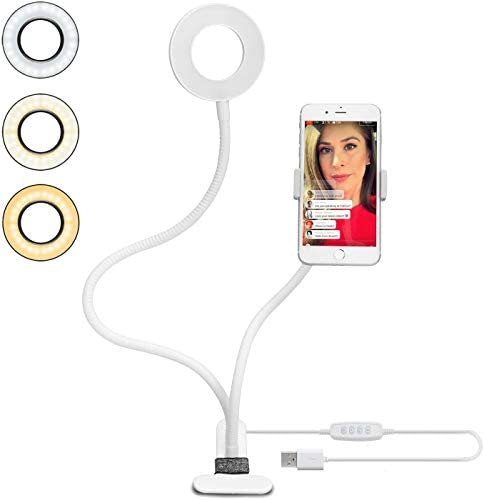 Velouer Selfie ring light with cell phone holde 3-Light Modes,Dimmable10 Levels Brightness Adjustment,Use in YouTube, Facebook,Twitter,Chat,Makeup, Alloy, 5 W, Elegant White[Energy Class A+]