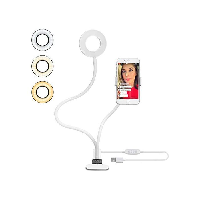 41cOk55gOiL 【Lo que Compras】 Uno Luz de Selfie con Soporte Ajustable (Blanco), para transmisión en vivo, maquillaje, transmisión en vivo, show en vivo, selfie, video chat y así. Adecuado para la mayoría de las plataformas sociales: Youtube, Facebook, Twitter, Instagram y así. 【10 Niveles de Brillo Regulable y 3 Colores de Ajuste】 10 brillos ajustables para combinar con cualquier estilo que necesites. El brillo múltiple y fácil de ajustar basado en la luz de fondo ayuda a mejorar la calidad del selfie, video chat. 3 colores - blanco cálido(3000k), blanco frío(6000k) y blanco natural(4000k). 【Alimentación de USB】 El puerto de USB funciona con múltiples dispositivos. Podrá disfrutar tanto de la lámpara como del soporte del teléfono en cualquier momento.