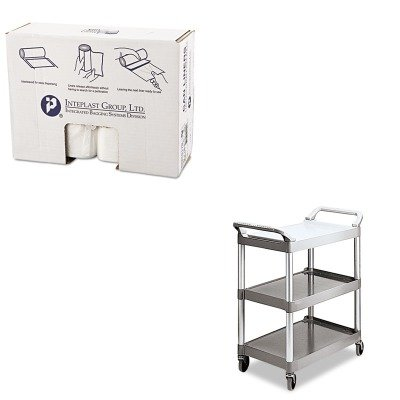 KITIBSS386017NRCP342488PM - Value Kit - Rubbermaid Platinum Light Duty Utility Cart (RCP342488PM) and High Density Can Liner 38 x 60 22 Mic Natural (IBSS386017N)