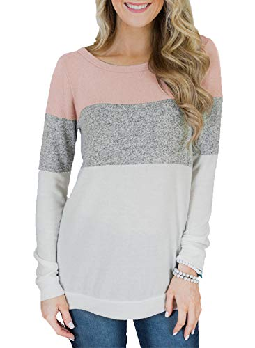 Scoop Jumper - Asvivid Womens Color Block Long Sleeve T Shirt Scoop Neck Autumn Sweatshirt Tunic Top Plus Size 1X Multi10