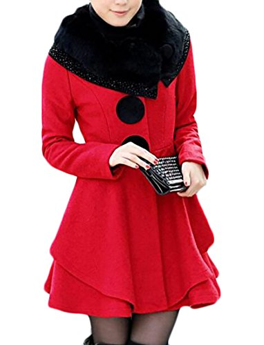 Frieed Women's Woolen Outdoor Faux Fur Single breasted Long Trench Coats Red - Breasted Fur Coat Single