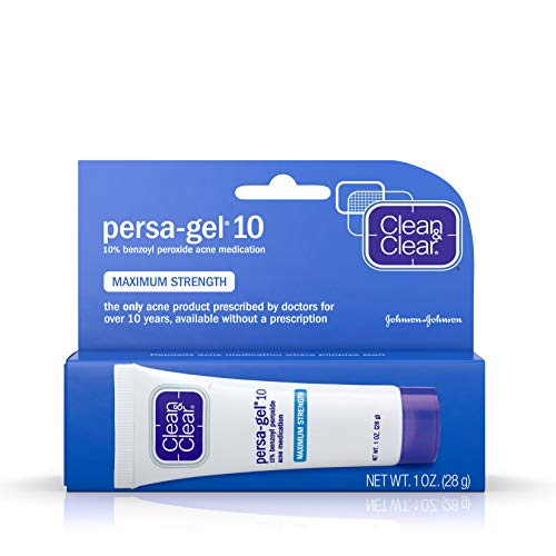 Clean & Clear Persa-Gel 10 Acne Medication Spot Treatment with Maximum Strength 10% Benzoyl Peroxide, Pimple Cream & Acne Gel Medicine for Face Acne with Benzoyl Peroxide Medication, 1 oz (pack of 4) (Best Topical Acne Medicine)