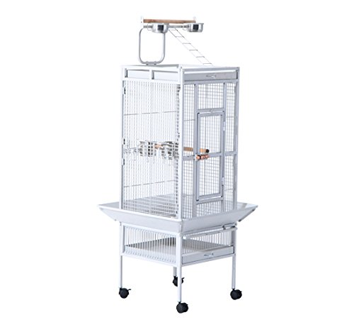 Eight24hours Parred Cage 61.4  Bird Finch Feeder Stand Play Top House Perch Bowl Wheel