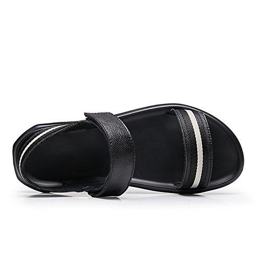 uomo Hook Black Vera Scarpe Vamp uomo piatti Nero 2018 Classice Ankle Single Closure Loop amp; pelle da tacco amp; Band Strap con da Sandali White Caq18PFw