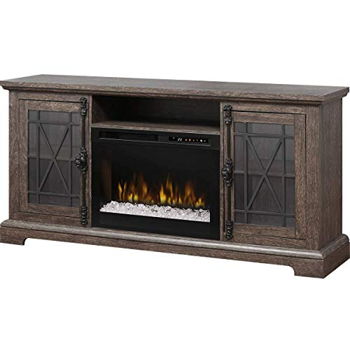 DIMPLEX Electric Fireplace, TV Stand, Media Console, Space Heater and Entertainment Center with Glass Ember Bed Set in Elm Brown Finish - Natalie #GDS26G8-1871EB