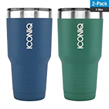 Dual Pack ICONIQ Stainless Steel 30 Ounce Vacuum Insulated Tumbler with Retractable Lid (Blue/Green)
