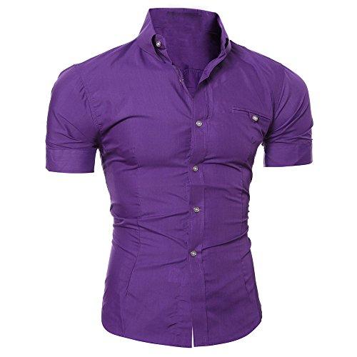 Sans Repassage Violet Casual Business Chemise shirt Amlaiworld Manches T Hommes À Courtes Simple RxqY1w
