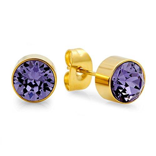 Earrings Amethyst Yurman David - Lady'S 18K Gold Plated Stud Earrings With February Swarovski Elements Amethyst Birthstone