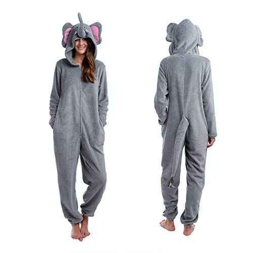 Body Candy Womens Fancy Hooded Animal Critters Microfleece Onesie, GOT PEANUTS, Gray -  Medium -