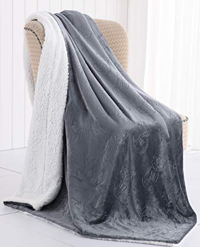 Morgan Home Sherpa Plush Throw Blanket – Embossed Animal Prints - Soft, Cozy and Perfect for The Couch, Sofa or Bed (Fox Grey)