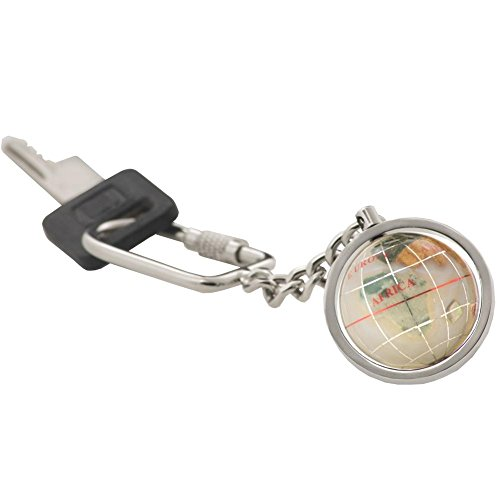 KALIFANO Gemstone Globe with Opal Opalite Ocean showcased on a Bright Silver Keychain (Abalone White Ring)