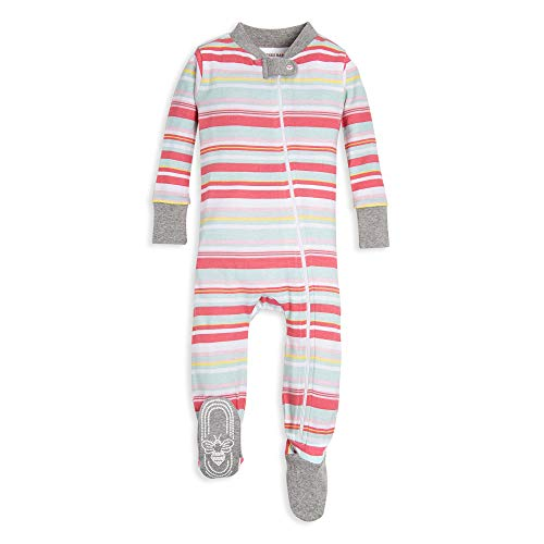 Cotton Sleeper Pajamas - Burt's Bees Baby Baby Girl's Sleeper Pajamas, Zip Front Non-Slip Footed Sleeper PJs, Orga Sleepwear, Blossom vintage stripe, 18 Months
