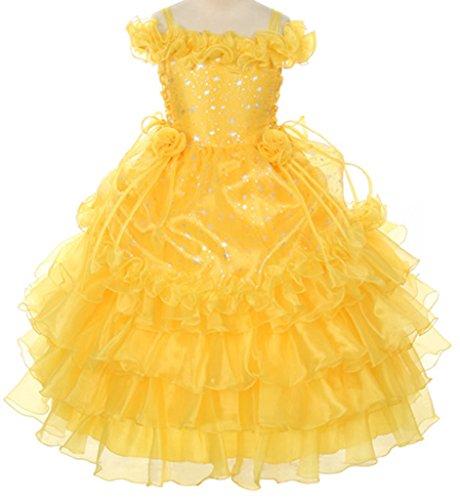 Star Printed Organza Ruffle Layered Girl Dress Pageant Party Communion Princess Yellow 2-14