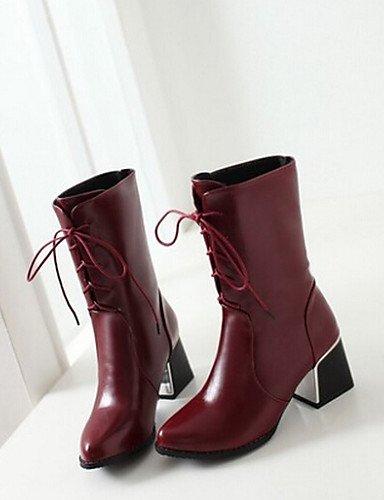 Negro Xzz Zapatos Red Puntiagudos Casual Cn39 Eu38 us7 Tacón Cn38 5 us8 Black Mujer 5 Bermellón Uk6 Poliéster Botas Robusto Uk5 Eu39 De zzdqwr