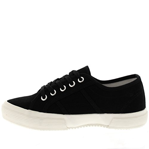 Womens Pumps Casual Lace Up Fashion Flat Festival Work Sneakers Shoes Black/White Uww3QYT