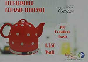 Wellness & Care 96524 - Tetera eléctrica de cerámica (1 L), color rojo y blanco