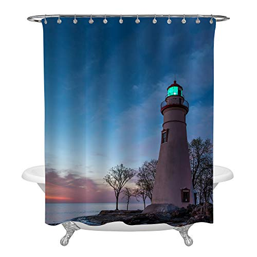 MitoVilla Marblehead Lighthouse at Dawn Shower Curtain Set with Hooks, Seashore American Building Artistic Photo, Colorful Nature Landscape Living Room Decor, No Liner Needed, 72 W X 72 L ()