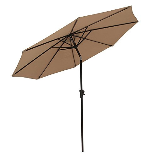 PATIOROMA 9 Feet Outdoor Aluminum Patio Umbrella with Tilt and Crank, 8 Ribs, Polyester Canopy (Tan) (Sale Tilting Patio Umbrellas)
