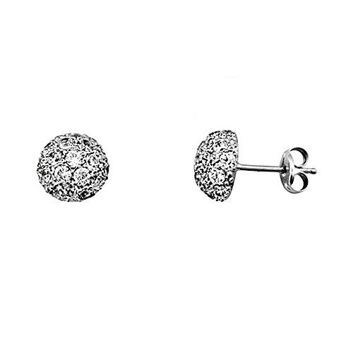 Boucled'oreille 18k blanc zircons boule d'or de la moitié [AA5879]