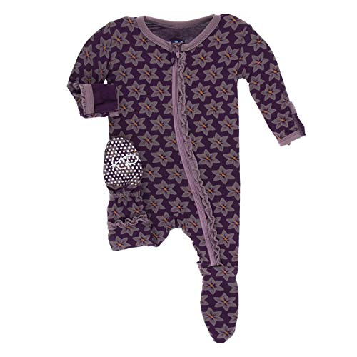 (Kickee Pants Little Girls Print Muffin Ruffle Footie with Zipper - Wine Grapes Saffron, 2T )