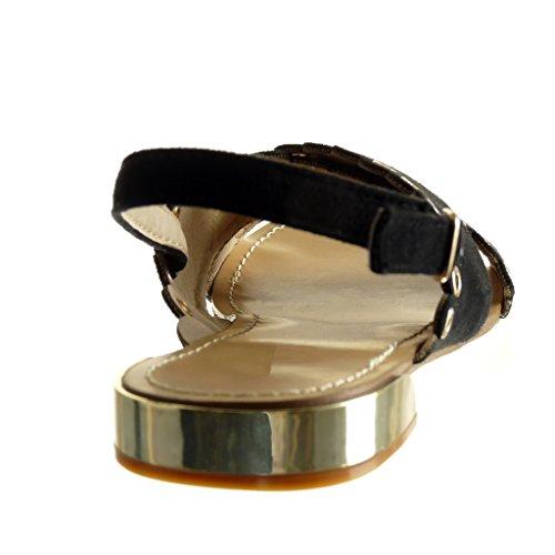 Angkorly - Scarpe da Moda sandali aperto donna perforato borchiati Tacco tacco piatto 1.5 CM - Nero
