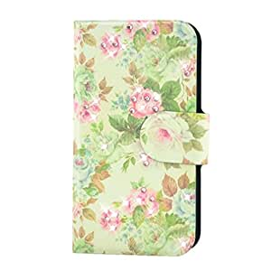 Generic Rhinestone Green Leaves Pink Flower Design Card Slot Magnetic PU Leather Flip Case Cover Compatible For Samsung GALAXY S4 Active mini i8580