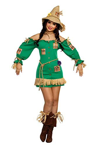 (Dreamgirl Women's Storybook Scarecrow Costume Dress, Green)