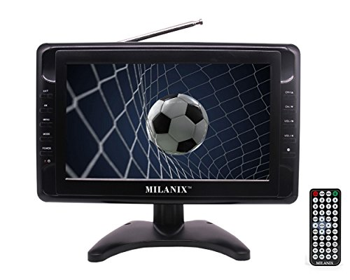 Milanix MX9 9' Portable Widescreen LCD TV with Detachable Antennas, USB/SD Card Slot, Built in Digital Tuner, and AV Inputs