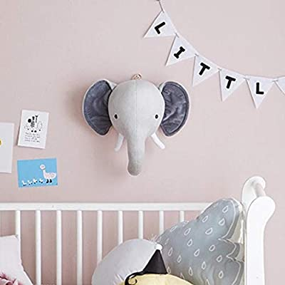 Jungle Safari Animals Head Wall Mount Decor Elephant Bunny Head Wall Ornaments Wall Hanging Mount Stuffed Plush Toy Princess Doll Girl Baby Kid Gift Nursery Room Wall Decor: Toys & Games