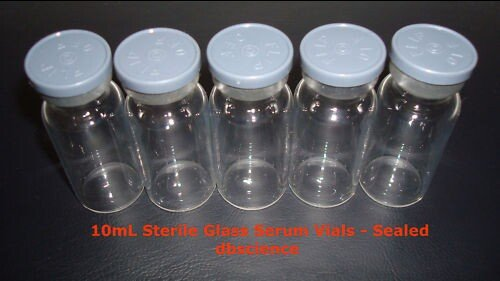 10ml Empty Borosillicate Sealed Sterile Serum Vials - 5 Pack