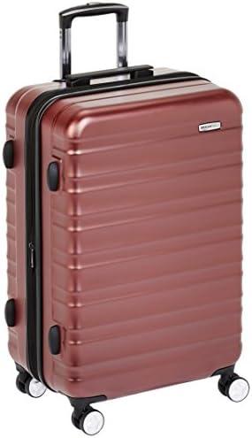 AmazonBasics - Maleta rígida de alta calidad, con ruedas y cerradura TSA incorporada - 68 cm, Rojo