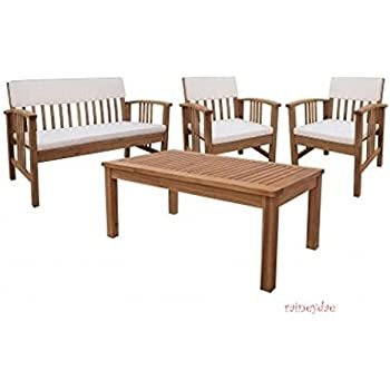 Durable Four Piece Wood Deep Seating Patio Furniture Set Indoor Outdoor  Conversation or Chat Set Acacia. Amazon com   Durable Four Piece Wood Deep Seating Patio Furniture