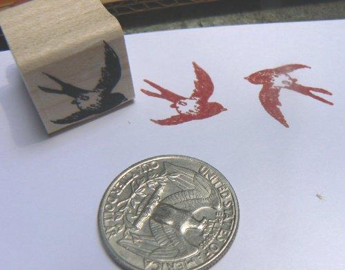 Swallow bird rubber stamp miniature P24
