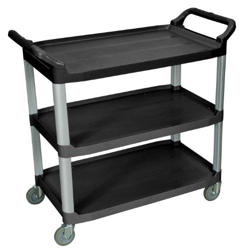 Luxor Home Office Large Multipurpose Three Shelves Serving Cart, Black