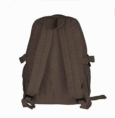 OBC Ital-design Unisex Erw. & Kinderrucksack Rucksack Schultertasche Tasche Nylon Tablet bis ca. 10 Zoll Dunkelbraun 36x30x15cm