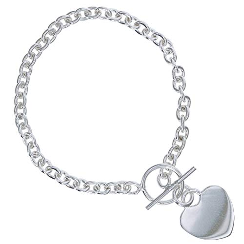 - The Olivia Collection Sterling Silver 11-12 Gram T-Bar Bracelet with Heart