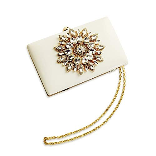 - Womens Evening Clutch Bag Designer Evening Handbag,Lady Party Clutch Purse, Great Gift Choice (White-Crystal Diamond Floral)