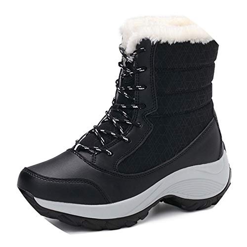 Women Boots Winter Shoes Women Plus Size Hot Platform Boots Winter Female Warm Botas Mujer,Black,6.5