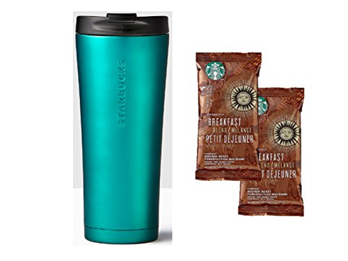 Sad Starbucks Stainless Steel Tumbler and Breakfast Blend Medium Coast Coffee Portion Packs- Starbucks Tumbler Gift Set with a Turqoise 16oz Tumbler and 2 Coffee Packs of Starbucks Loam Coffee.