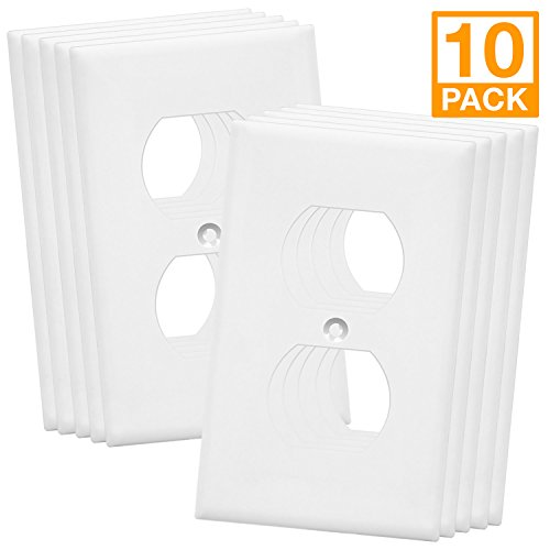 Duplex Wall Plates Kit by Enerlites 8821-W Home Electrical Outlet Cover, 1-Gang Standard Size, Unbreakable Polycarbonate Material, White - 10 Pack Dual Port Replacement Receptacle Faceplates Covers Blank Components Kit