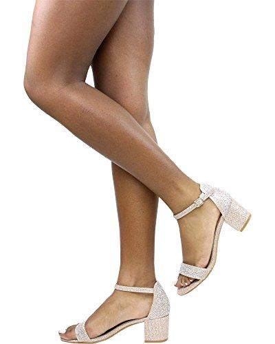 Chunky Bella Womens Bella Luna Rhinestone GLAD Champagne Heel Luna 06 YBqawO