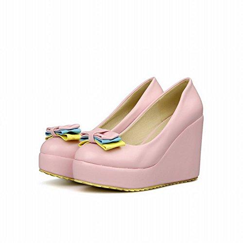 Carol Zapatos Mujeres Sweet Bowknots Lolita Style Cute Plataforma Charm High Wedge Heel Dress Bombas Zapatos Rosa