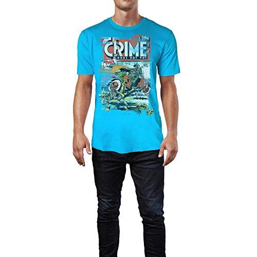 SINUS ART® Crime Does Not Pay Herren T-Shirts in Karibik blau Cooles Fun Shirt mit tollen Aufdruck